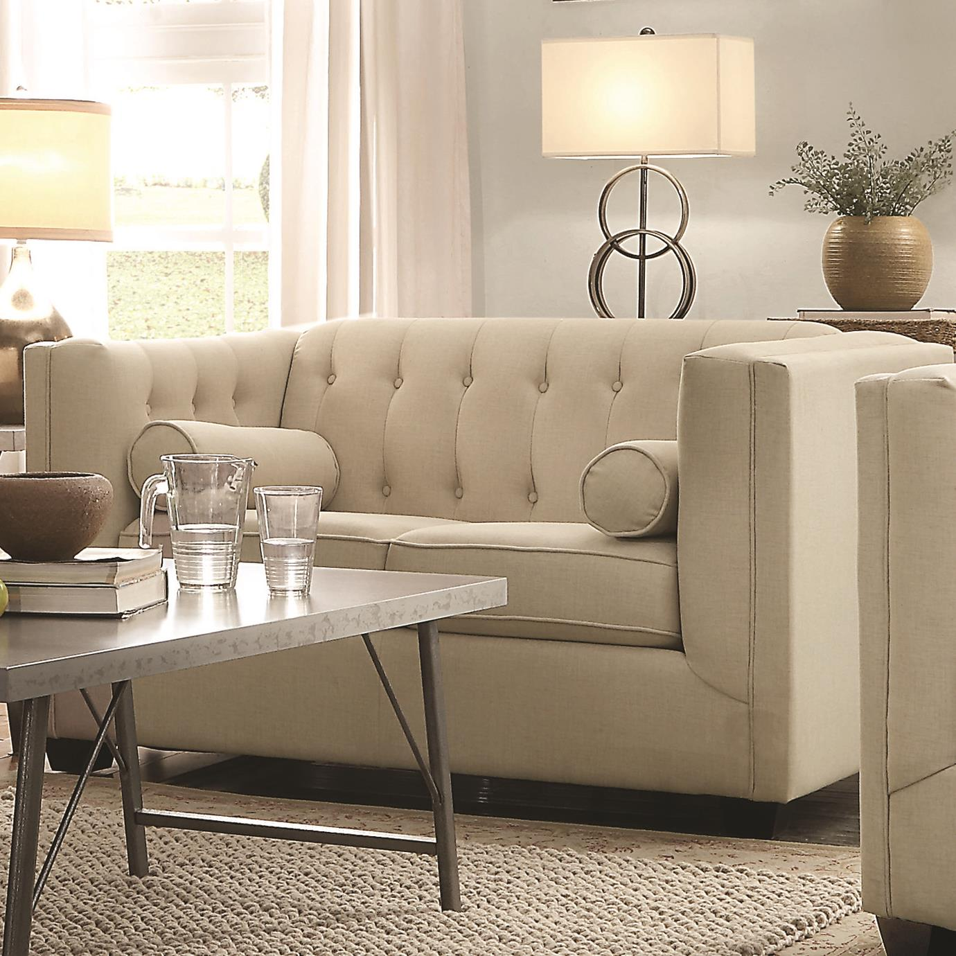 Coaster Cairns Love Seat - Item Number: 504905-Oatmeal