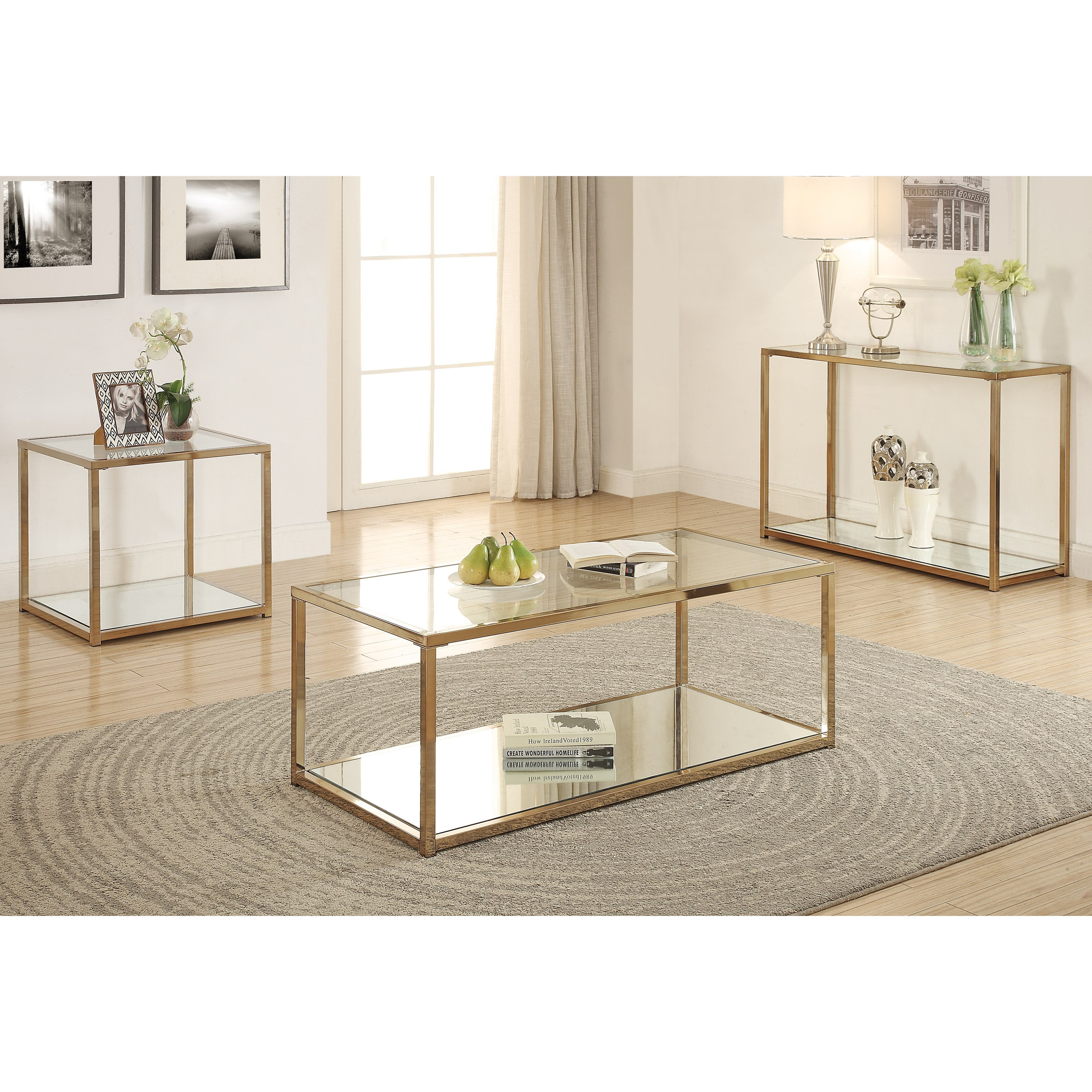 Kings Brand Coylin Chrome Glass Cocktail Coffee Table: Fine Furniture Calantha 705237 End Table With Mirror Shelf