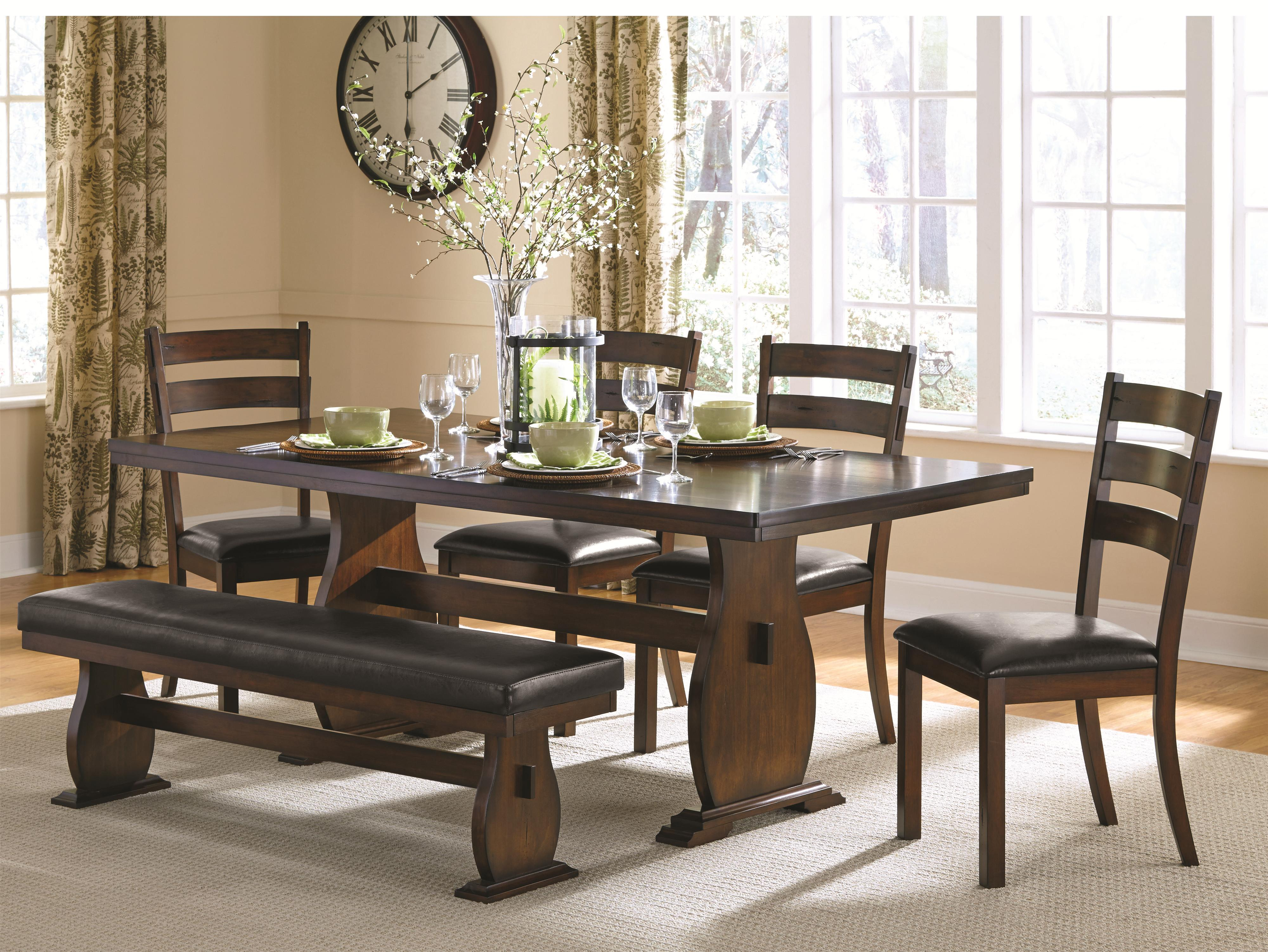 Coaster Campbell Table and Chair Set with Bench - Item Number: 105341+4x2+3