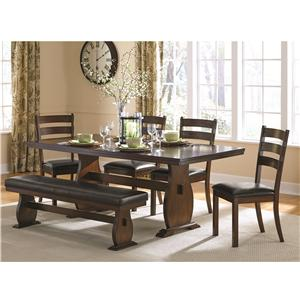 Coaster Campbell Table and Chair Set with Bench