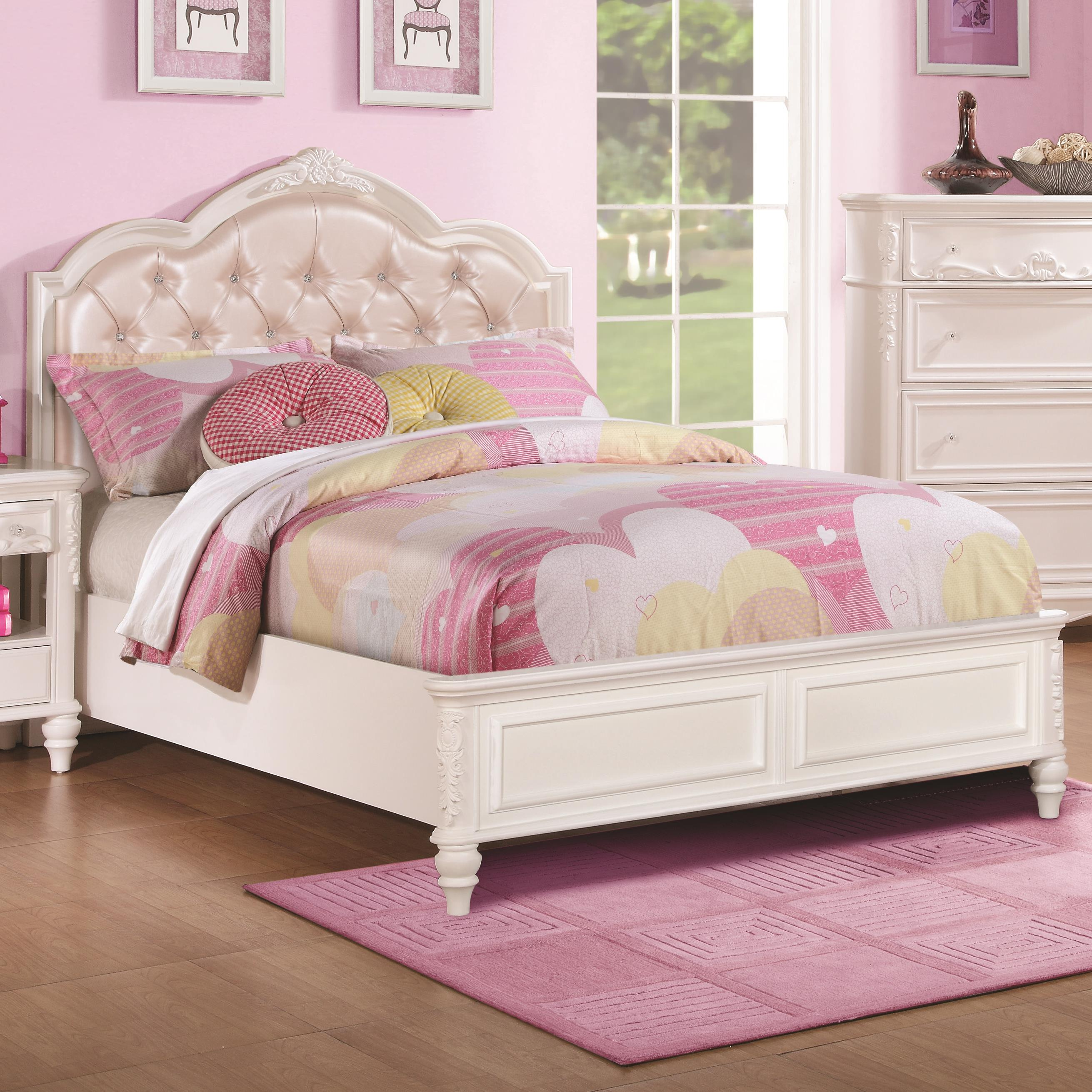 Caroline Twin Size Bed and Diamond Tufted Headboard by Coaster at Northeast  Factory Direct