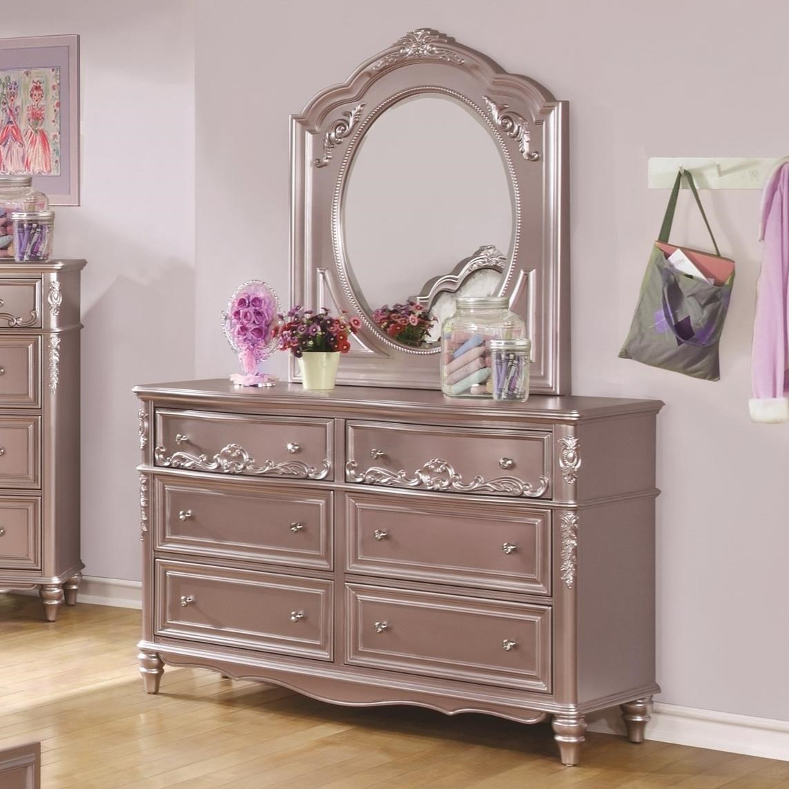 coaster caroline decorative 6 drawer dresser and mirror 14275 | products 2fcoaster 2fcolor 2fcaroline 204007 400893 2b94 b1