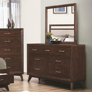 Coaster Carrington 7 Drawer Dresser and Mirror