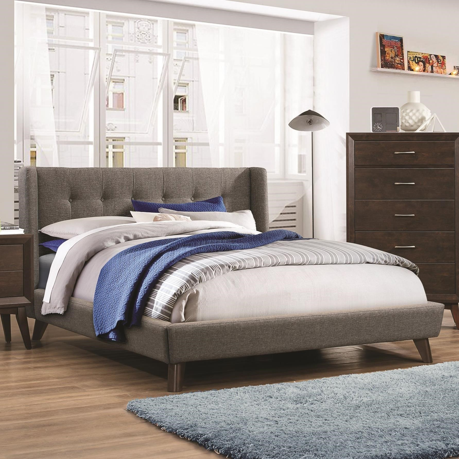 Queen Bed.Carrington Queen Upholstered Wing Bed By Coaster At A1 Furniture Mattress