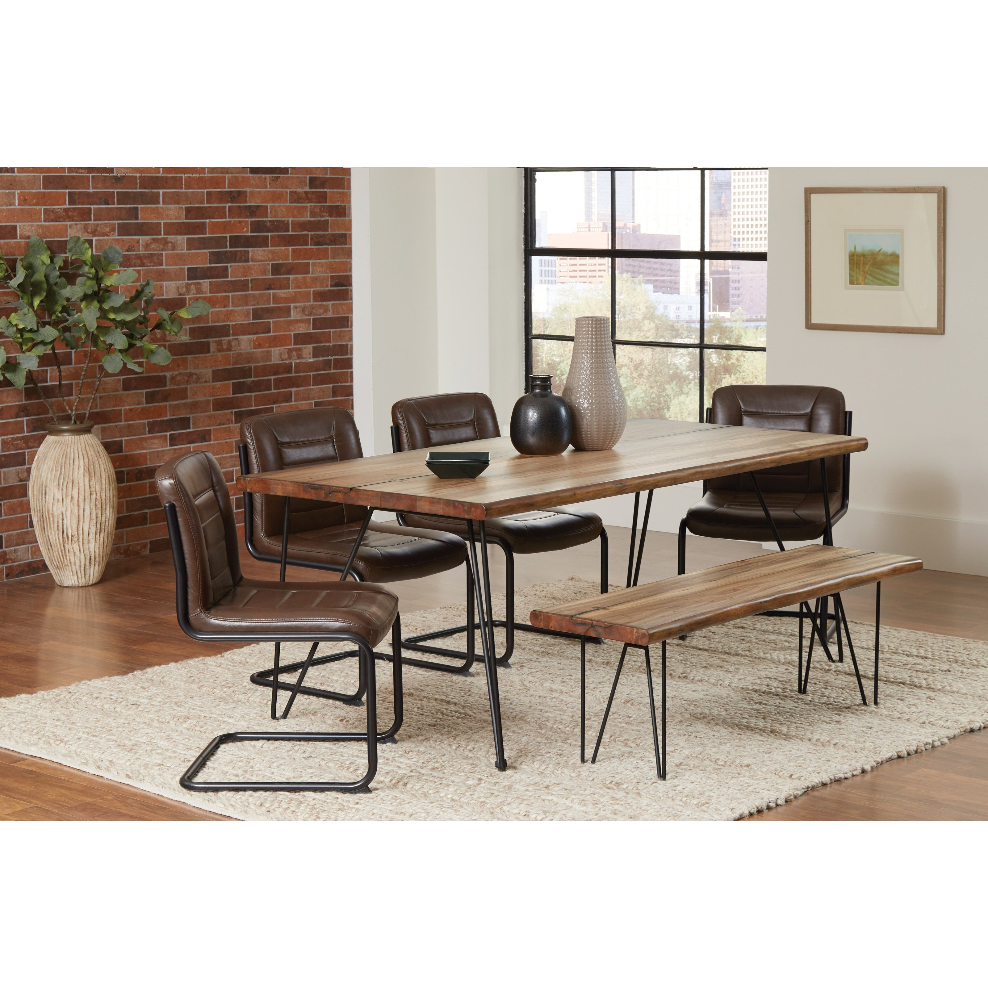 Coaster Chambler Dining Set with Bench - Item Number: 122231+122233+4x130084