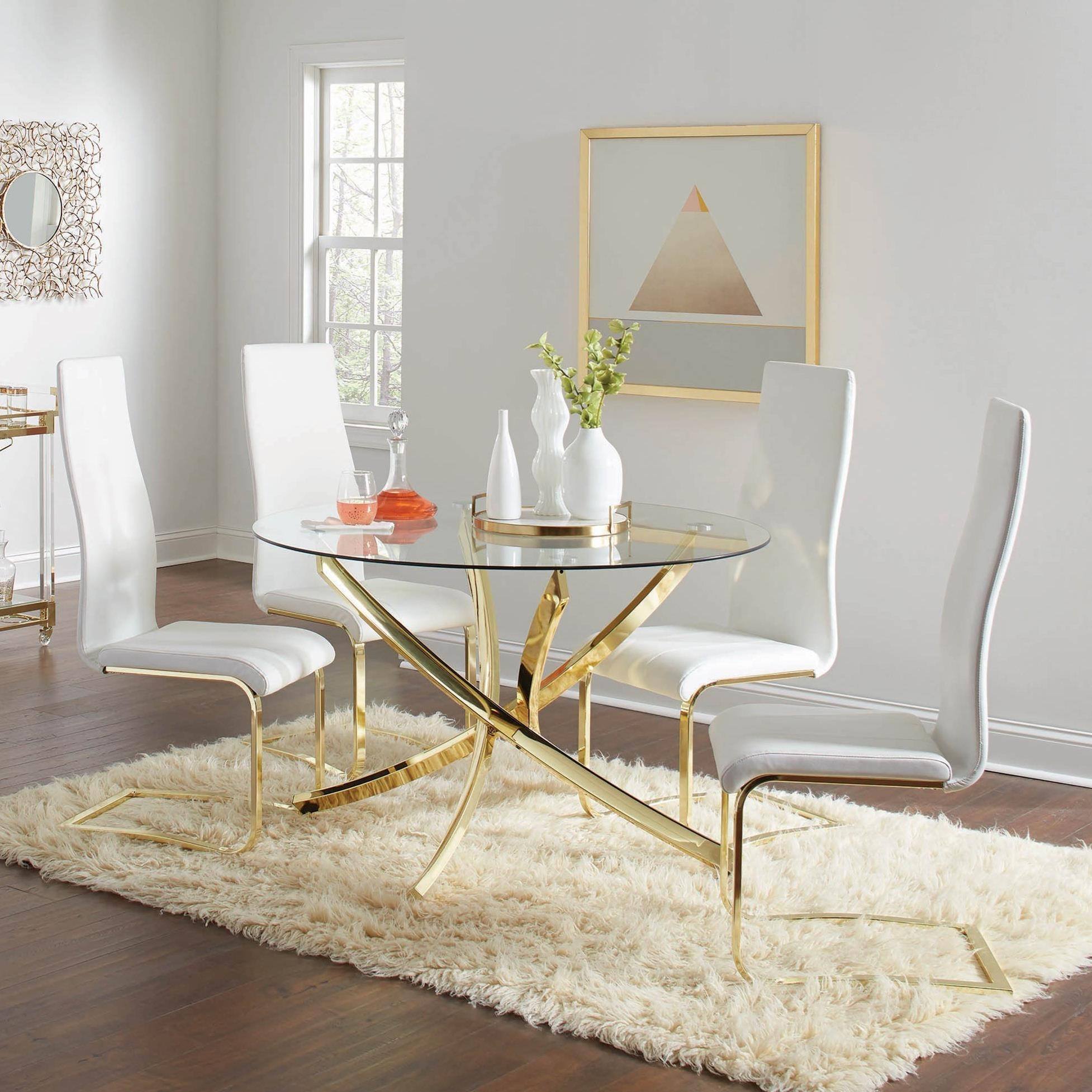 Coaster Carone Contemporary Glam Dining Room Set With: Coaster Chanel Glam 5-Piece Dining Set With Gold Colored