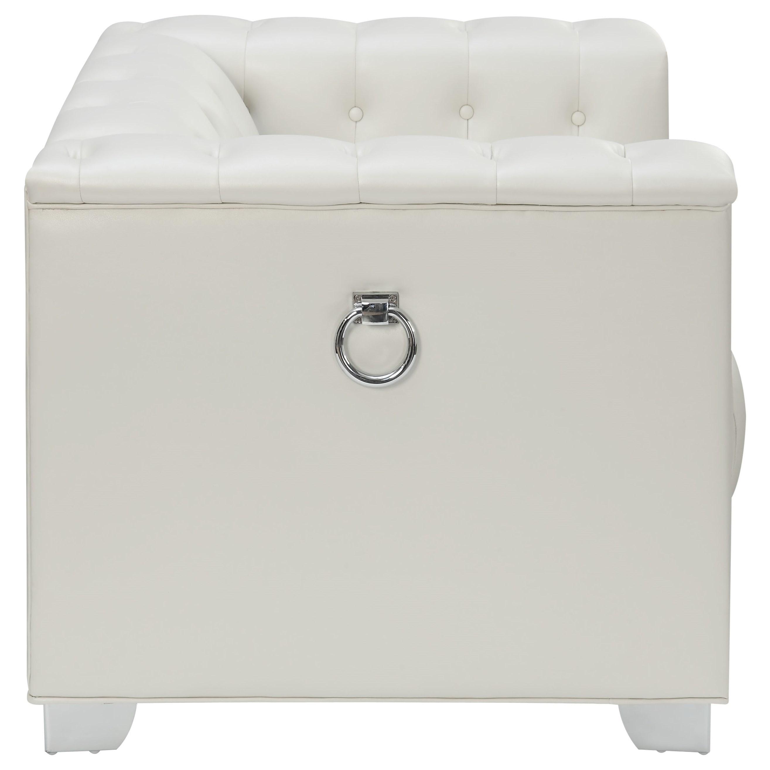 Coaster Chaviano 505393 Low Profile Pearl White Tufted