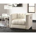 Coaster Chaviano Low Profile Pearl White Tufted Chair
