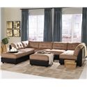 Coaster Claude Contemporary Two Tone Ottoman - Shown in Room Setting with Sectional Sofa