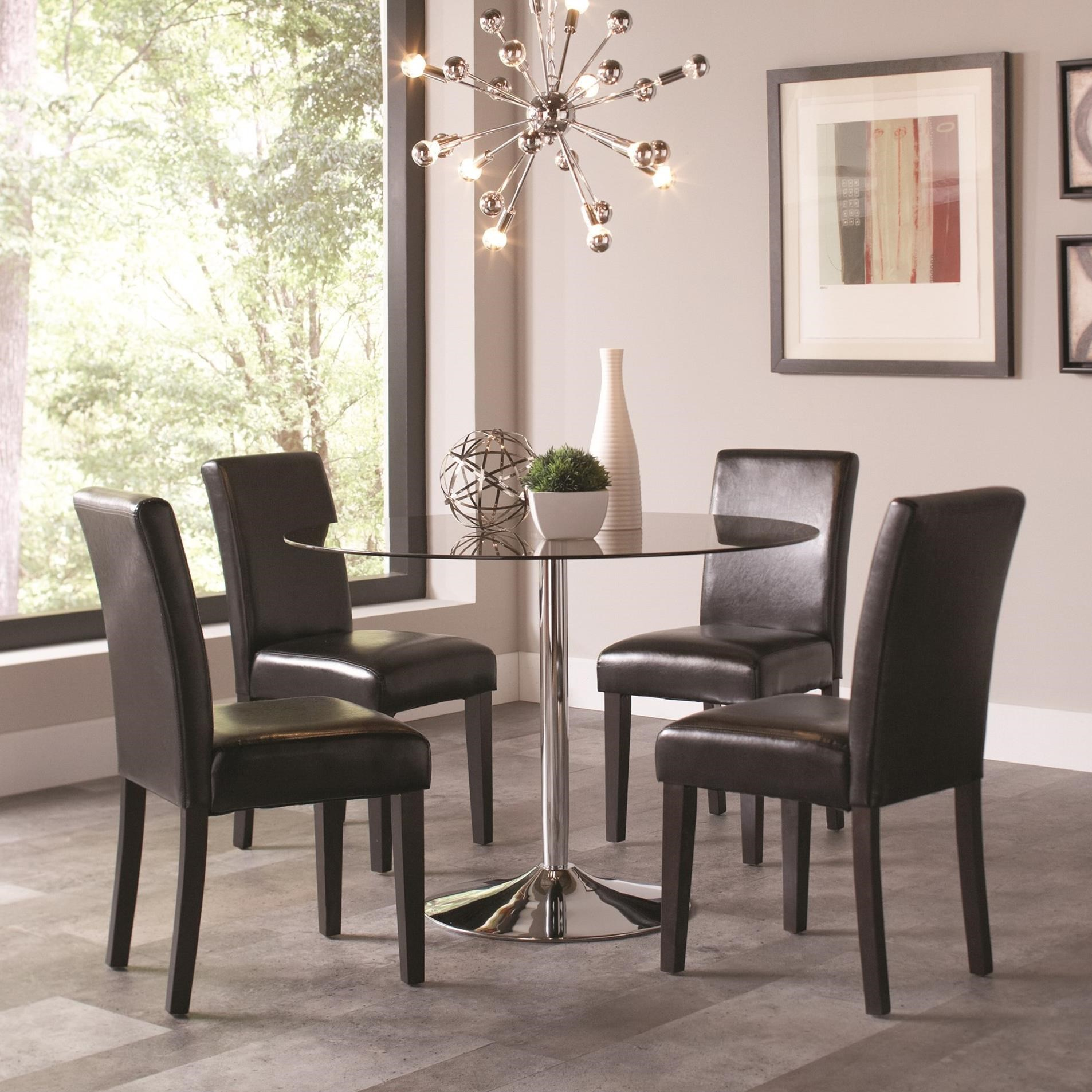 Coaster Clemente 5 Piece Round Table & Chair Set - Item Number: 103000+4x101785