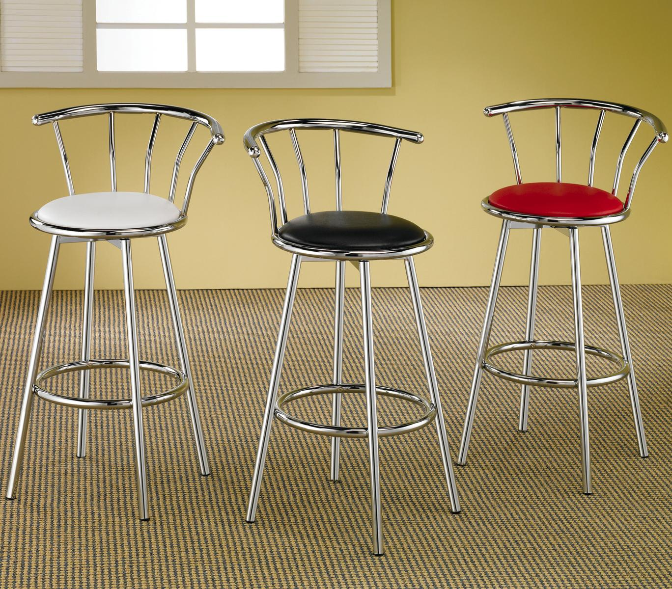 Coaster Cleveland Chrome Plated Bar Stool With Upholstered
