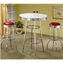 Coaster Cleveland Chrome Plated Soda Fountain Bar Stool - Shown with Bar Table