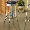 Coaster Cleveland Chrome Plated Soda Fountain Bar Stool - 2408 - Shown in Black Faux Leather