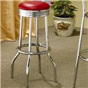 Coaster Cleveland Chrome Plated Soda Fountain Bar Stool - 2408 - Also Available in Red Faux Leather