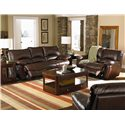 Coaster Clifford Brown Leather Double Power Reclining Love Seat - Actual Recline Handle May Differ Based on Manual or Power Recline Options