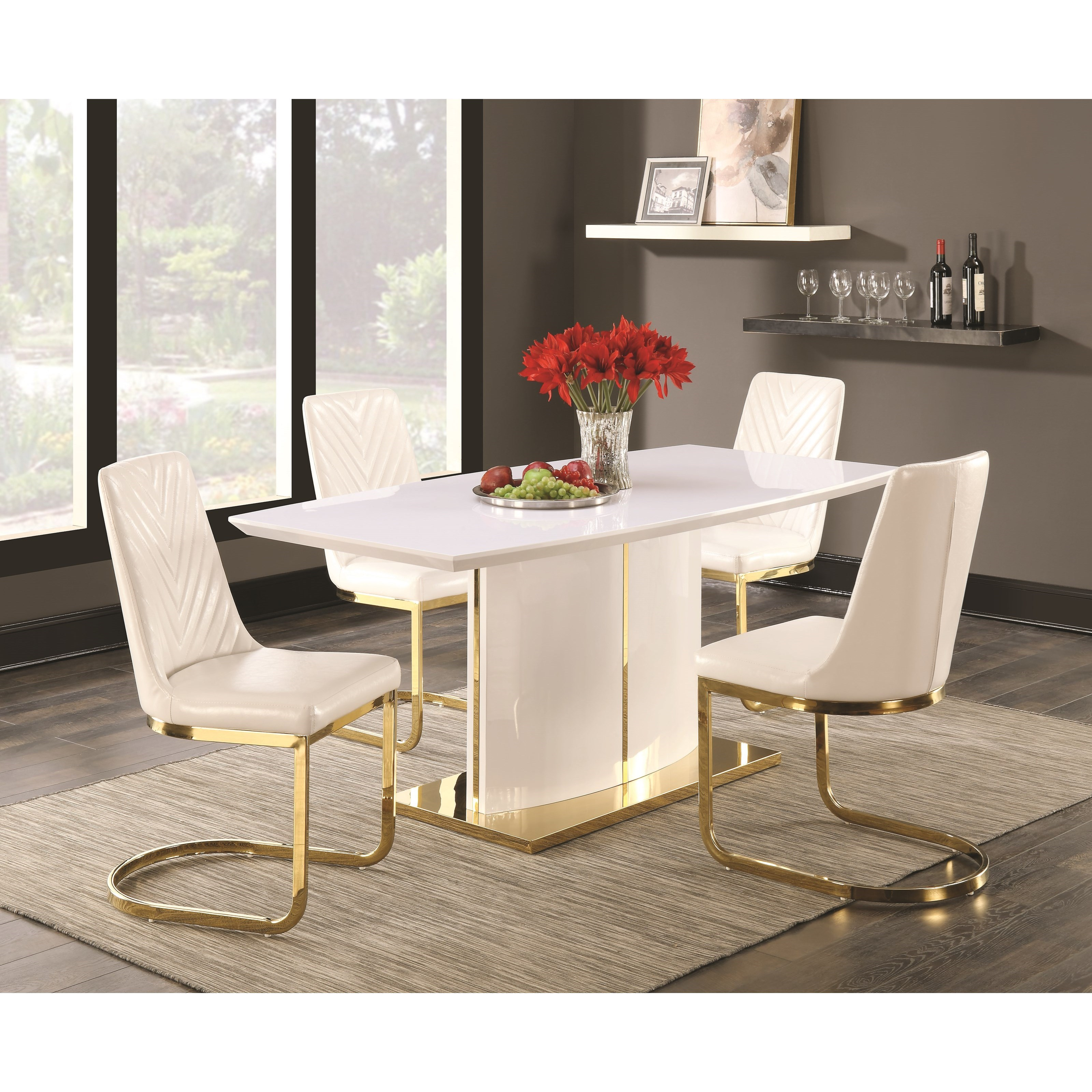 Coaster Cornelia 5 Piece Table and Chair Set - Item Number: 106711+4x106712