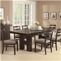 Coaster Dabny 7 Piece Rectangular Dining Table Set with Pull Out Extension Leaf - 103101+103102x6