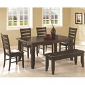 Coaster Dalila Dining Set with Bench - Item Number: 102721+4x102722+102723