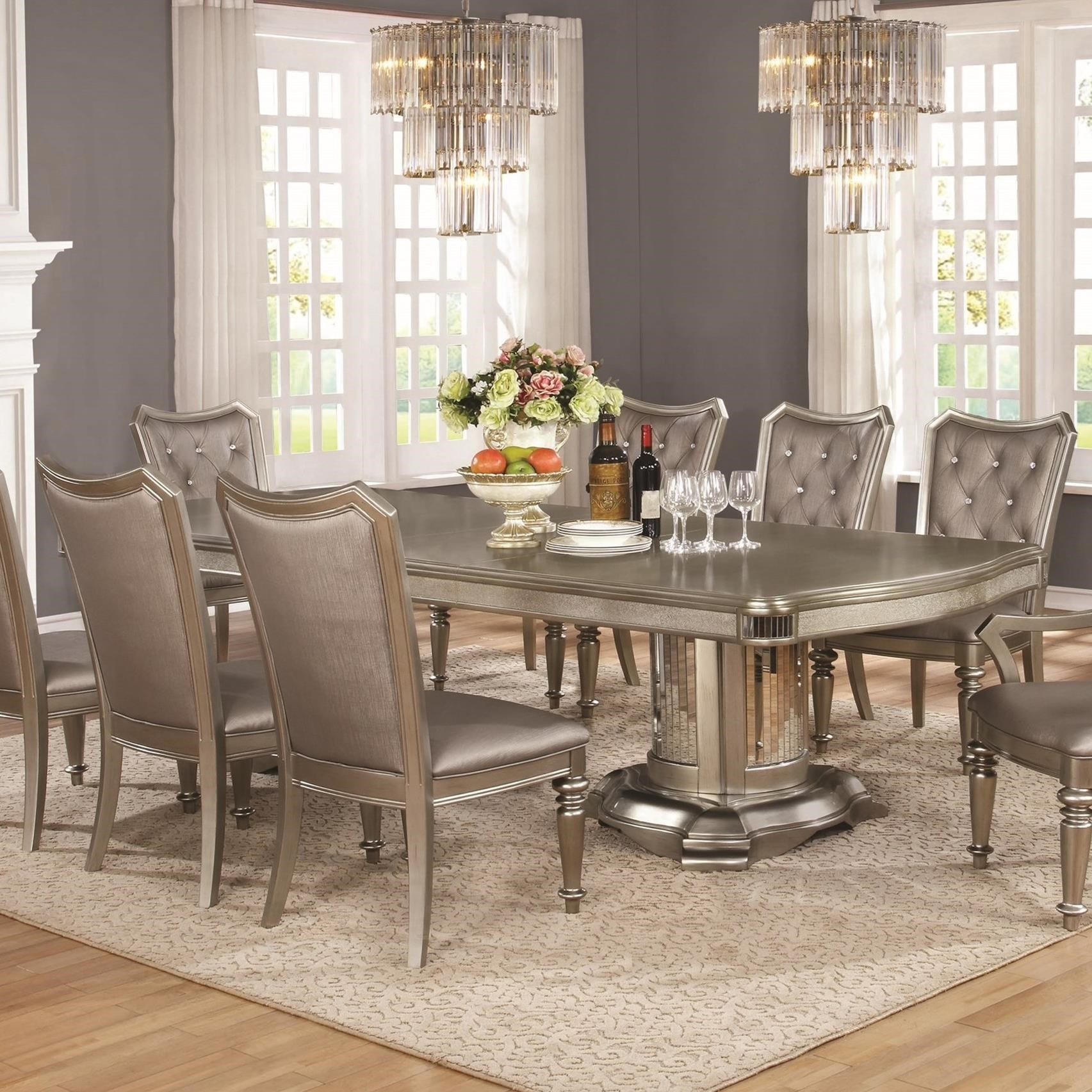 Value City Furniture & Danette Double Pedestal Dining Table with Leaf by Coaster at Value City Furniture