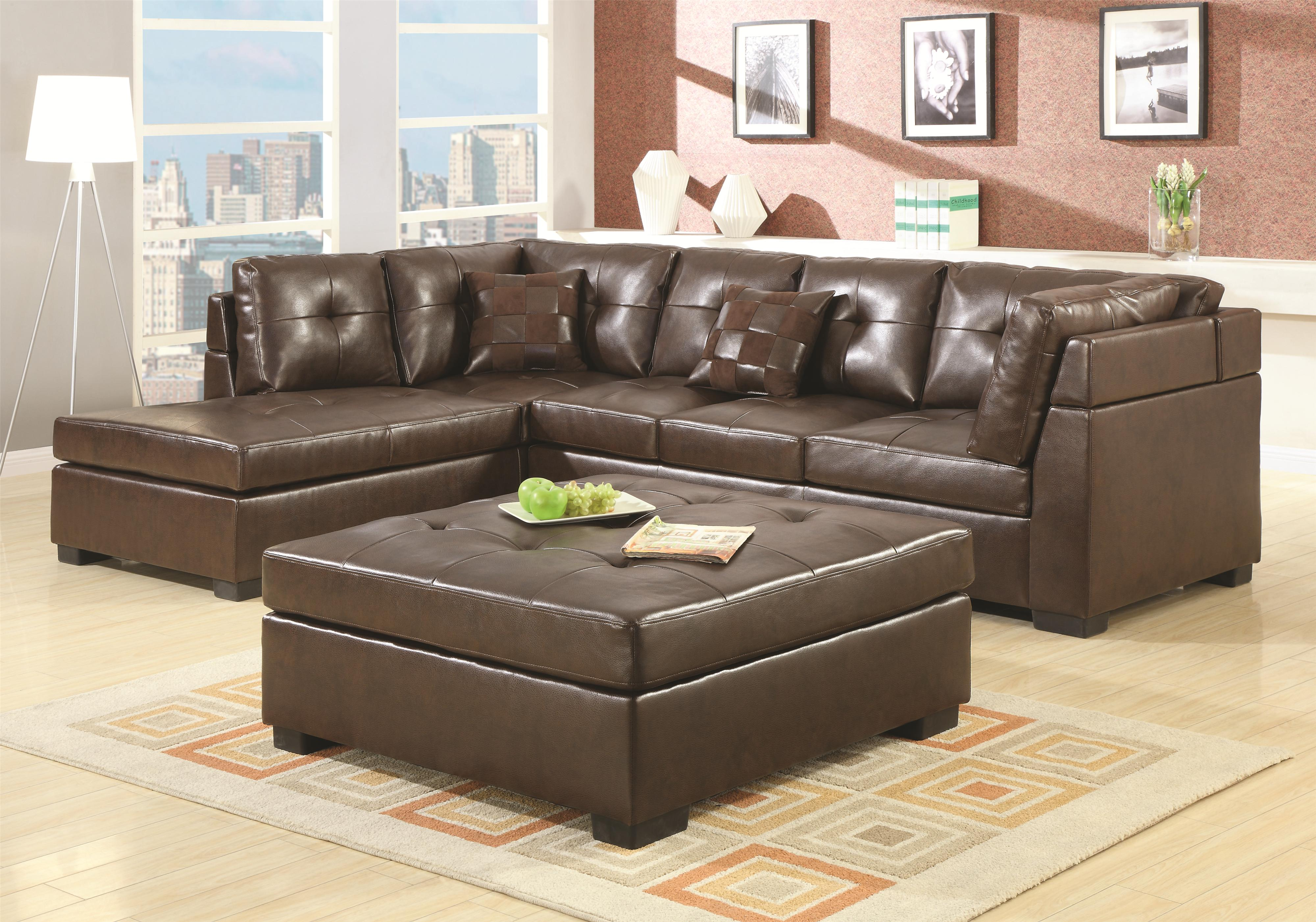 Darie Leather Sectional Sofa with Left-Side Chaise by Coaster at Dunk &  Bright Furniture