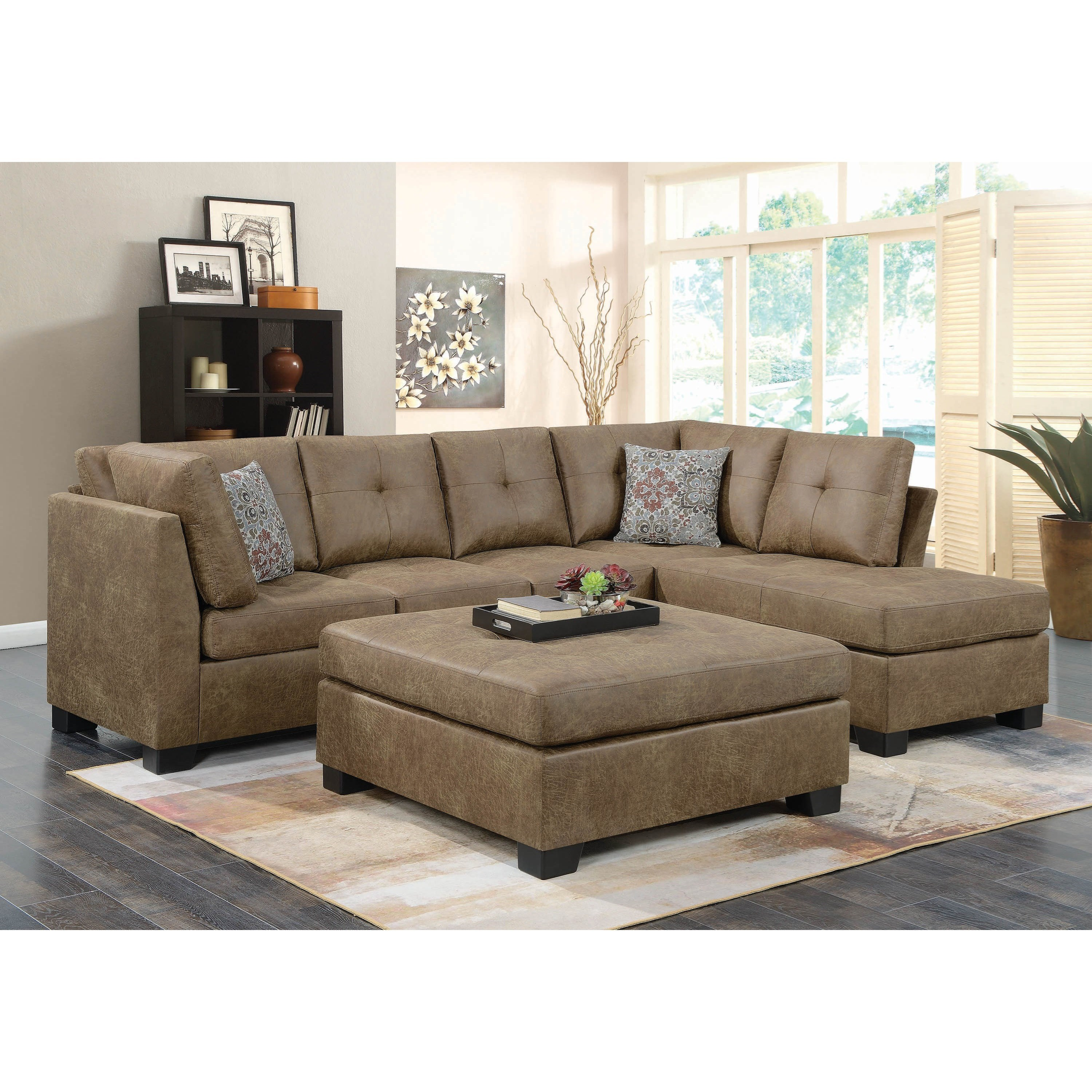 Living Room Furniture Nj: Coaster Darie Light Rustic Brown Microfiber Sectional With