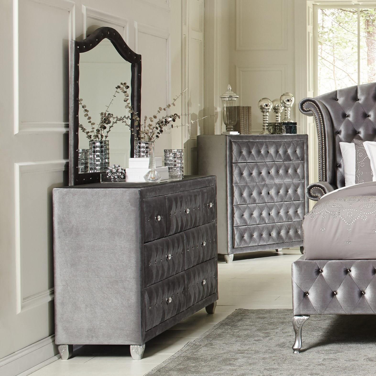 Coaster Deanna Upholstered Dresser And Mirror Set With Faceted Buttons A1 Furniture Mattress Dresser Mirror Sets