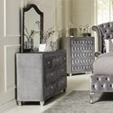 Coaster Deanna Upholstered Dresser with Six Drawers and Faceted Buttons