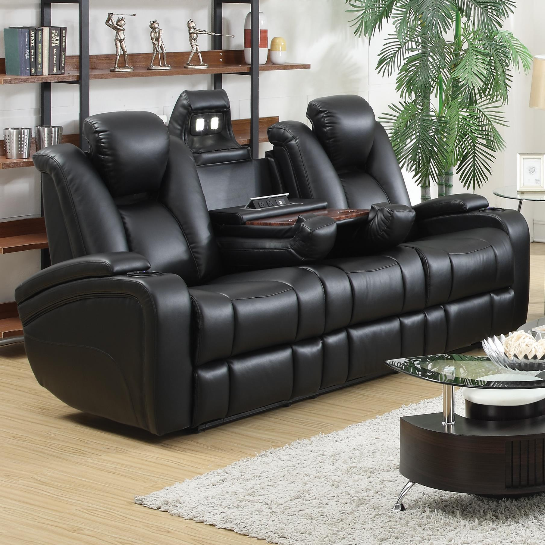 Coaster Delange Reclining Power Sofa With Adjustable Headrests