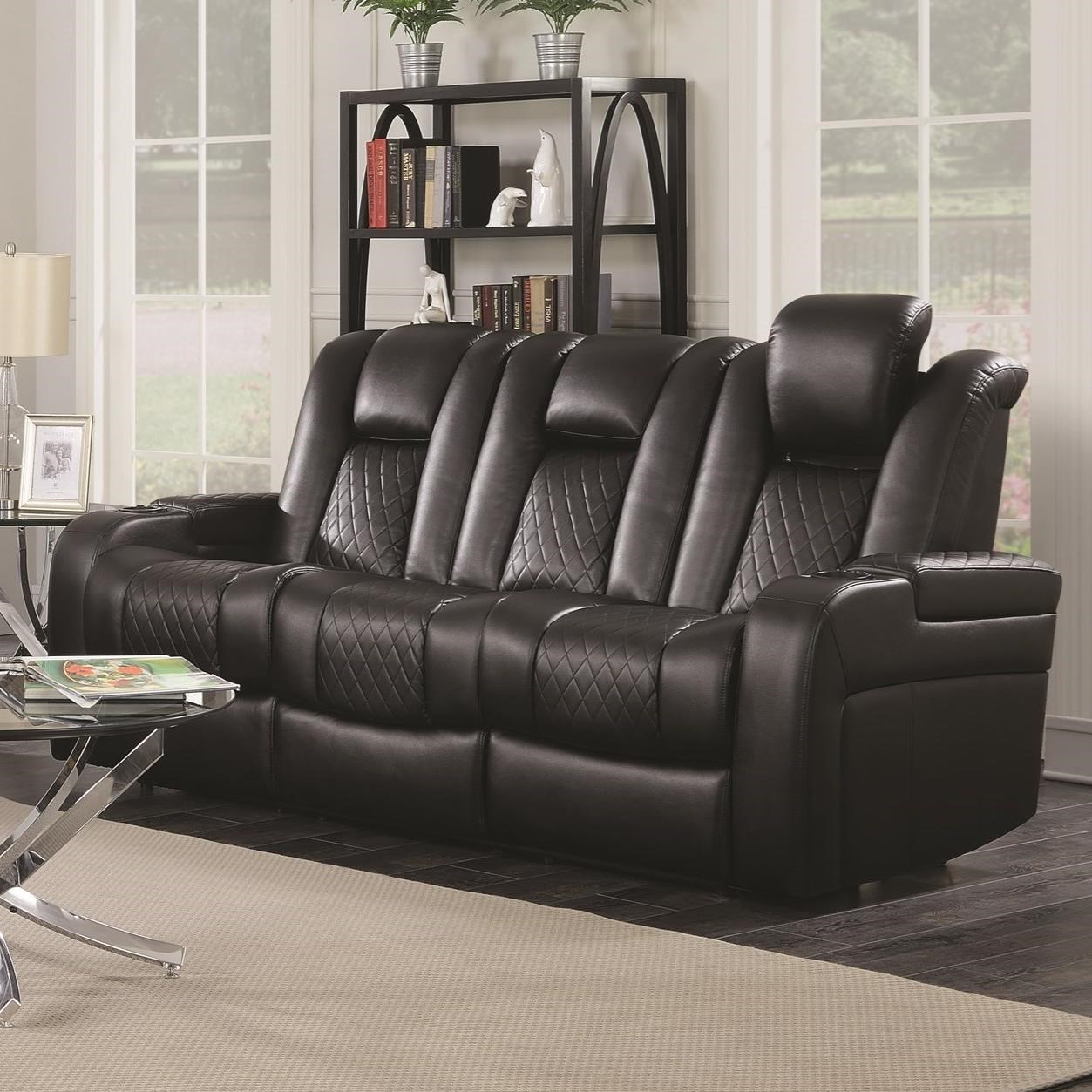 Coaster Delangelo Casual Power Reclining Sofa With Cup