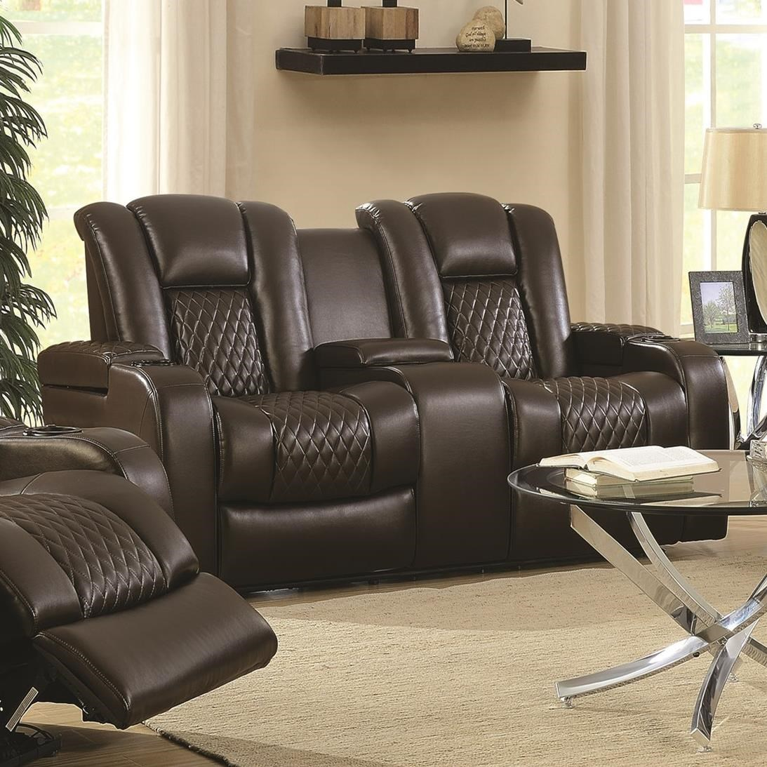 Coaster Delangelo 602305p Casual Power Reclining Love Seat