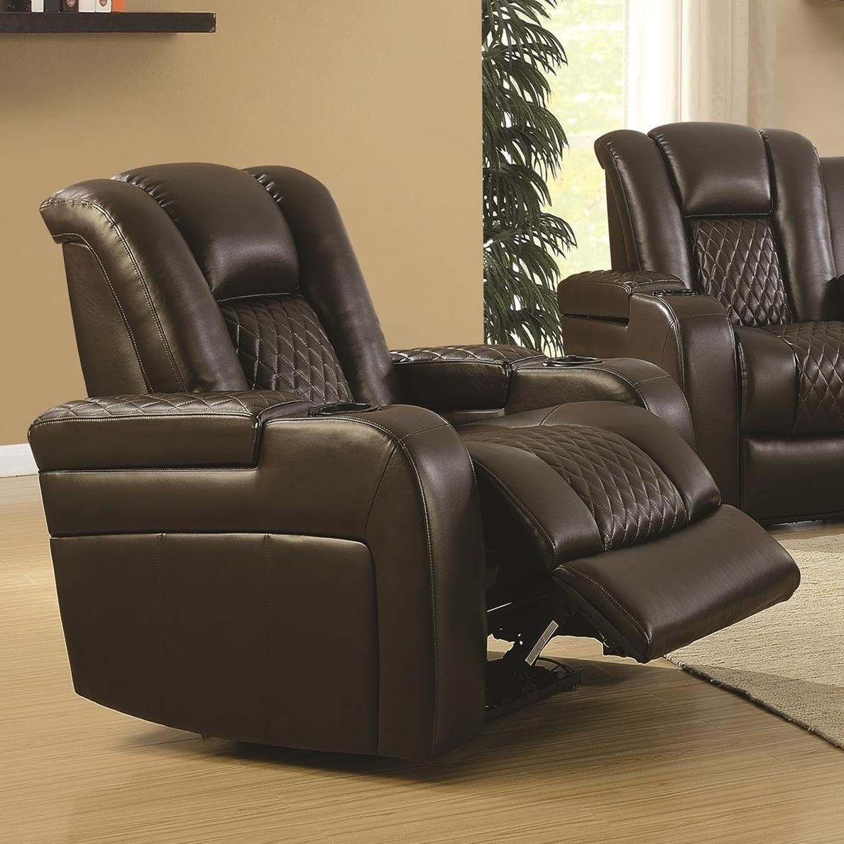 Coaster Delangelo Casual Power Recliner with Cup Holders ...