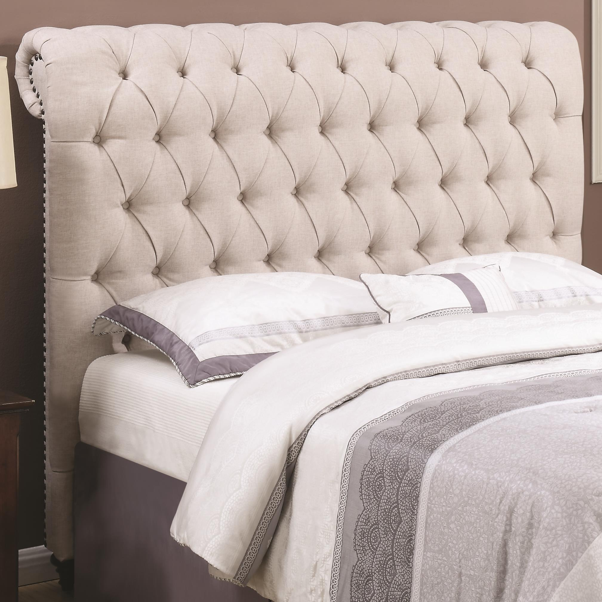 Coaster Devon Queen Rolled Headboard In Beige Fabric