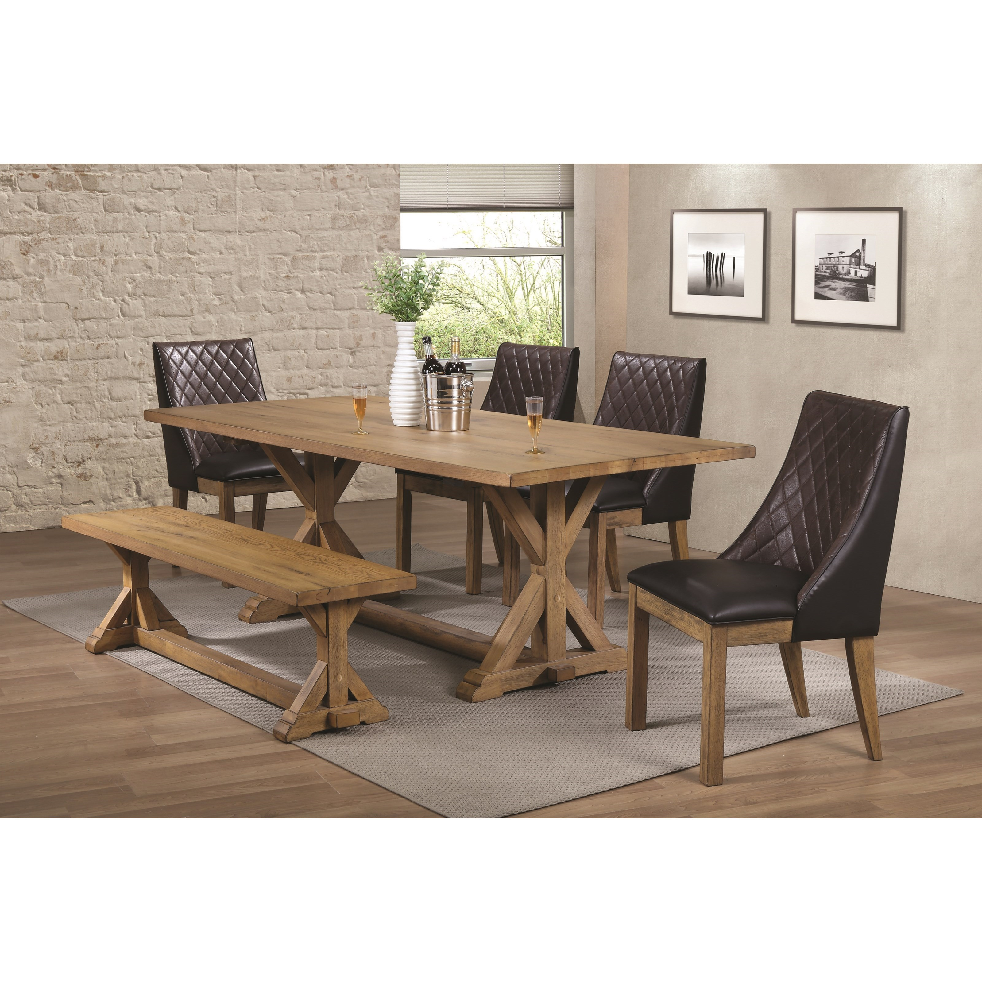 Coaster Douglas Dining Table Set With Bench   Item Number:  107221+107223+4x107222