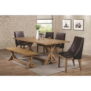 Coaster Douglas Dining Table Set with Bench