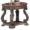 Coaster Doyle Traditional Oval End Table with Glass Inlay Top - 3891