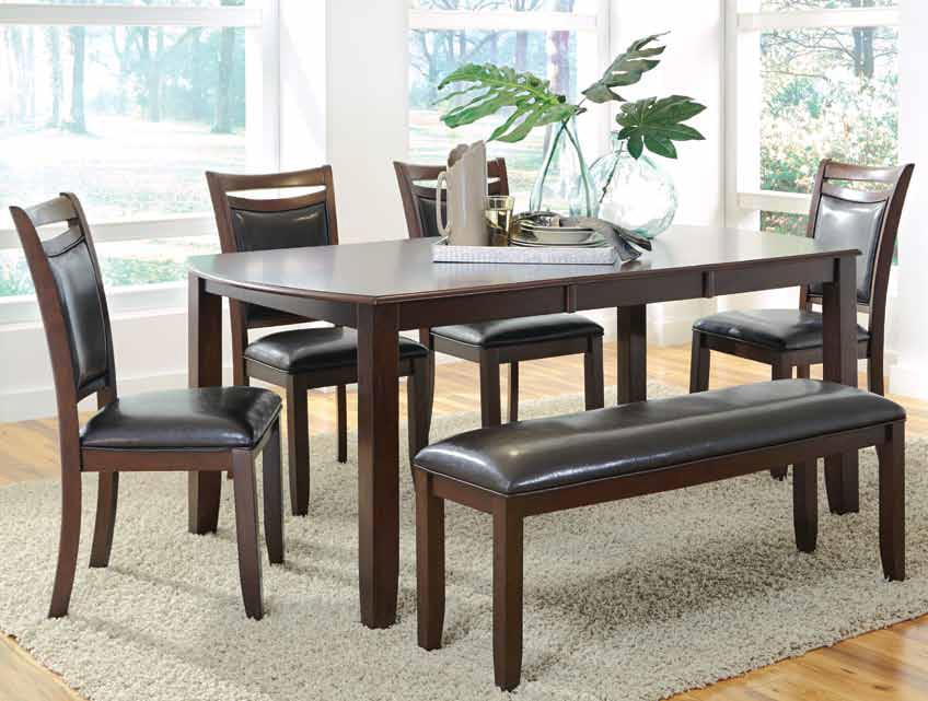 Coaster Dupree Dining Table & Bench with 4 Side Chairs - Item Number: 105471+4x72+73