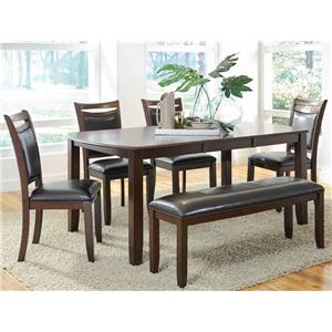 Coaster Dupree Dining Table & Bench with 4 Side Chairs