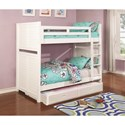 Coaster Edith Louvered White Twin over Twin Bunk Bed with Trundle