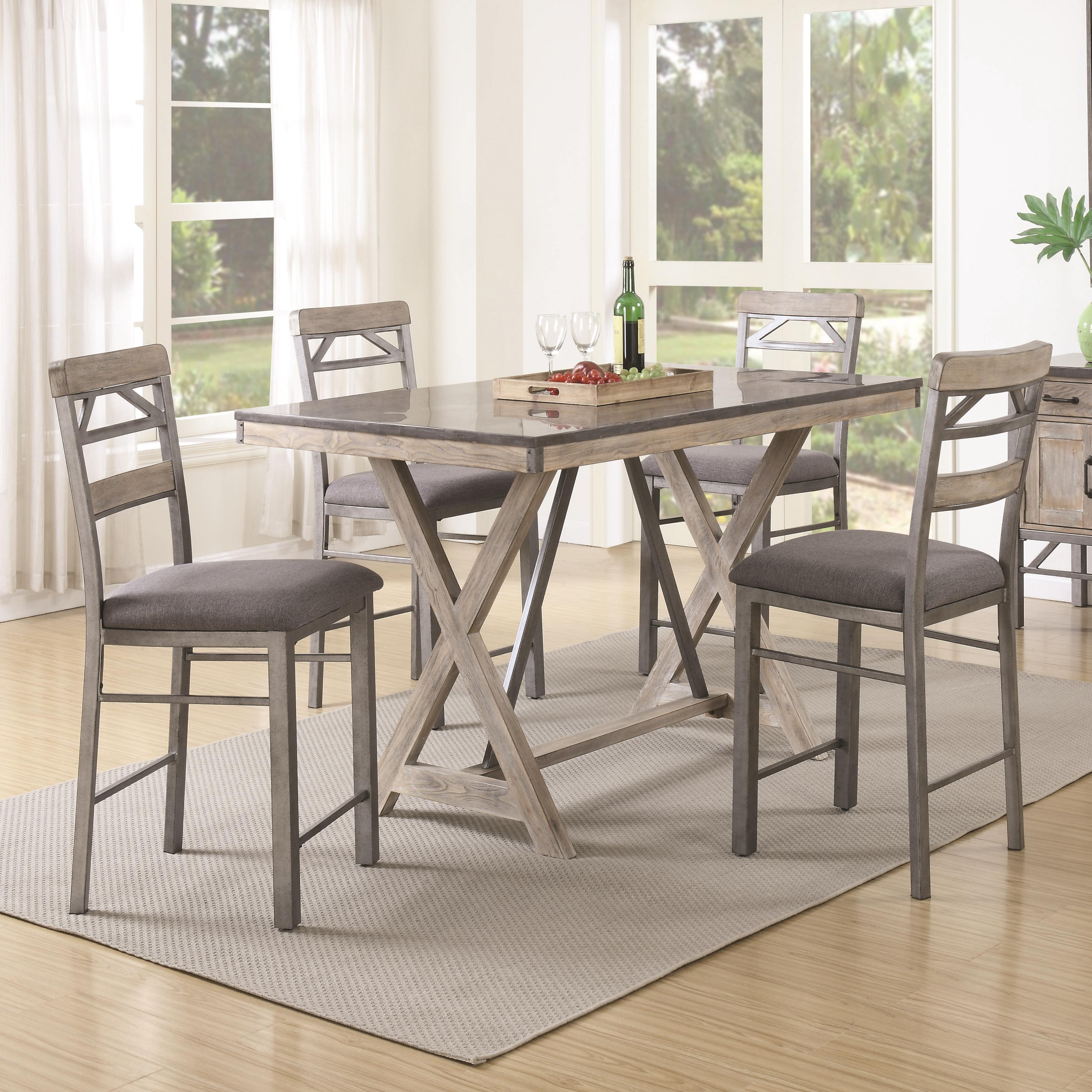 Coaster Edmonton 5 Piece Counter Height Table & Chair Set - Item Number: 106328+4x106329