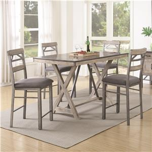 Coaster Edmonton 5 Piece Counter Height Table & Chair Set