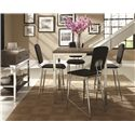 Coaster Eldridge Contemporary 5 Piece Pub Table Set with Weathered Table Top and Chrome Base and 5 Upholstered Stools