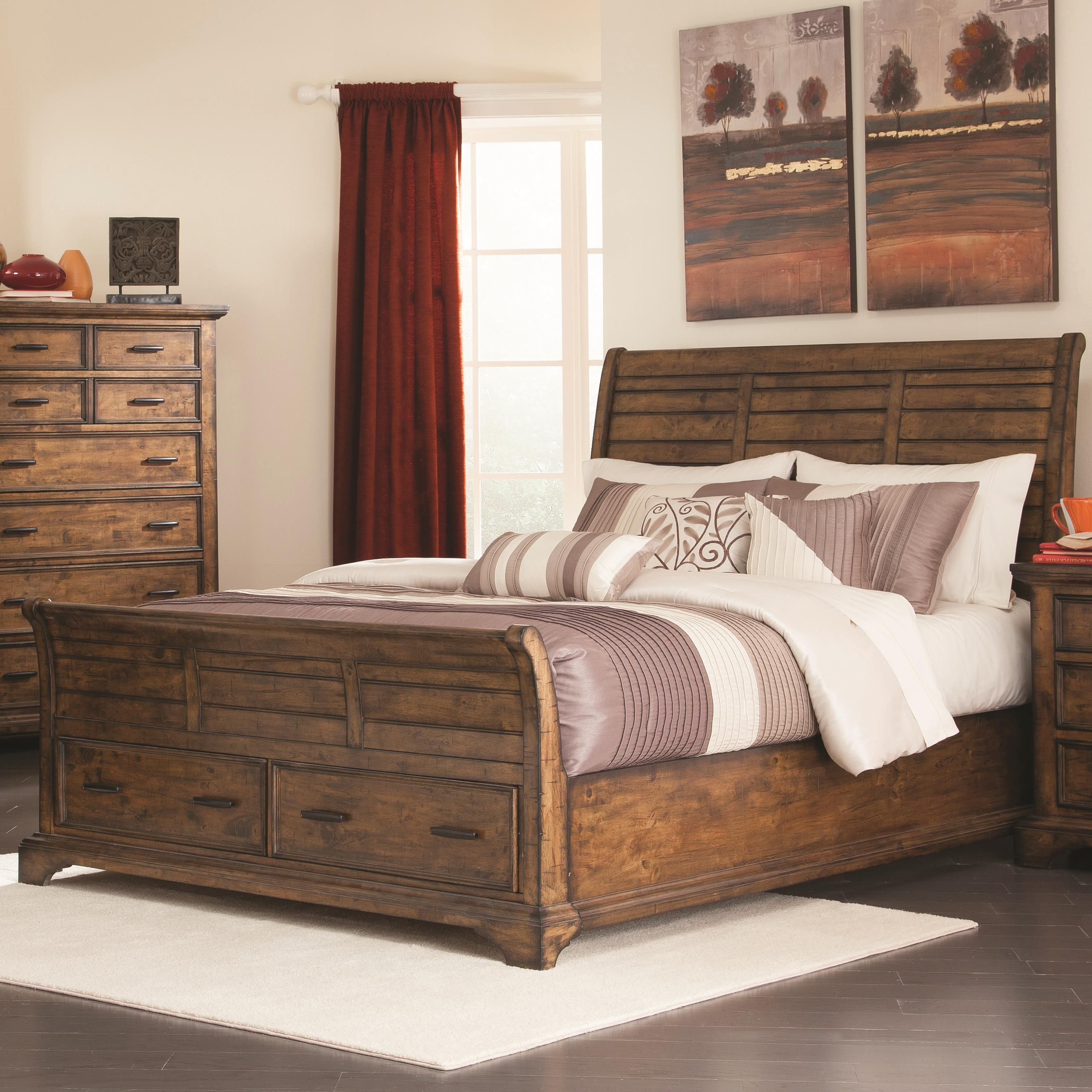 Elk Grove California King Sleigh Bed With 2 Drawers By Coaster