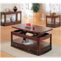 Coaster Evans Contemporary End Table with Drawer and Shelf - 700247 - Shown with Sofa Table and Coffee Table