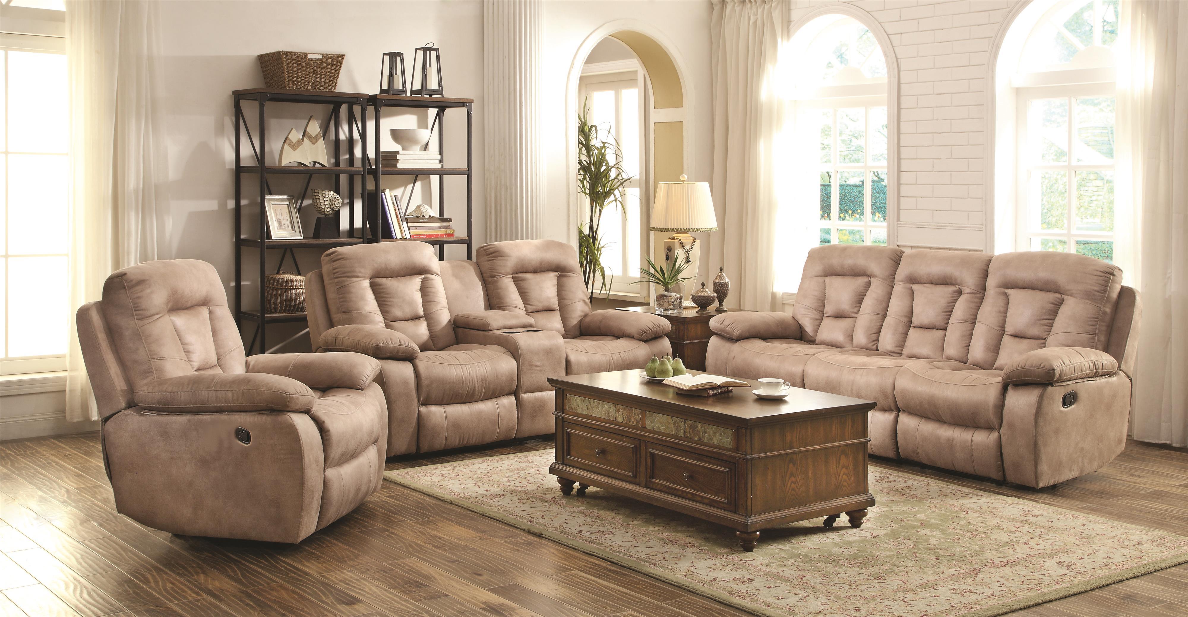 Coaster Evensky Reclining Living Room Group - Item Number: 60186-Bone Living Room Group 1