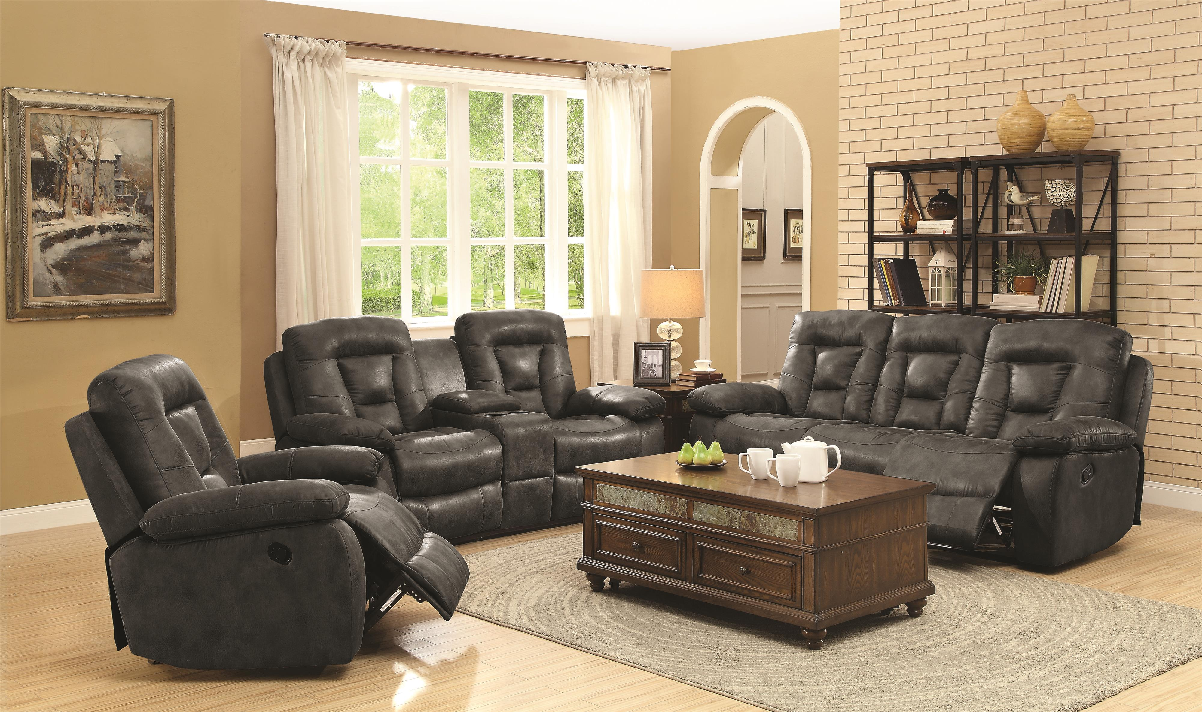 Coaster Evensky Reclining Living Room Group - Item Number: 60186-Charcoal Living Room Group 1