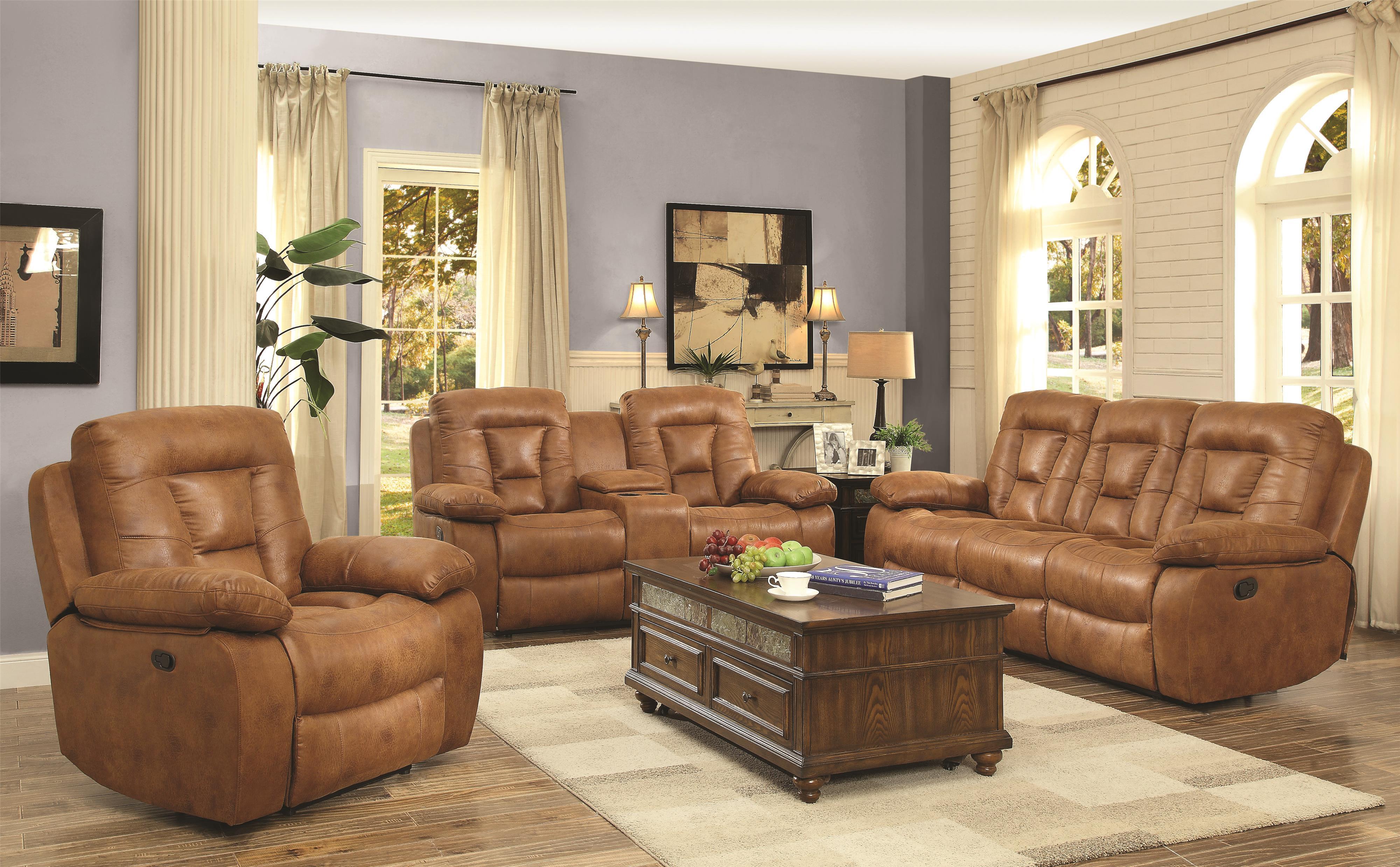 Coaster Evensky Reclining Living Room Group - Item Number: 60186-Saddle Living Room Group 1