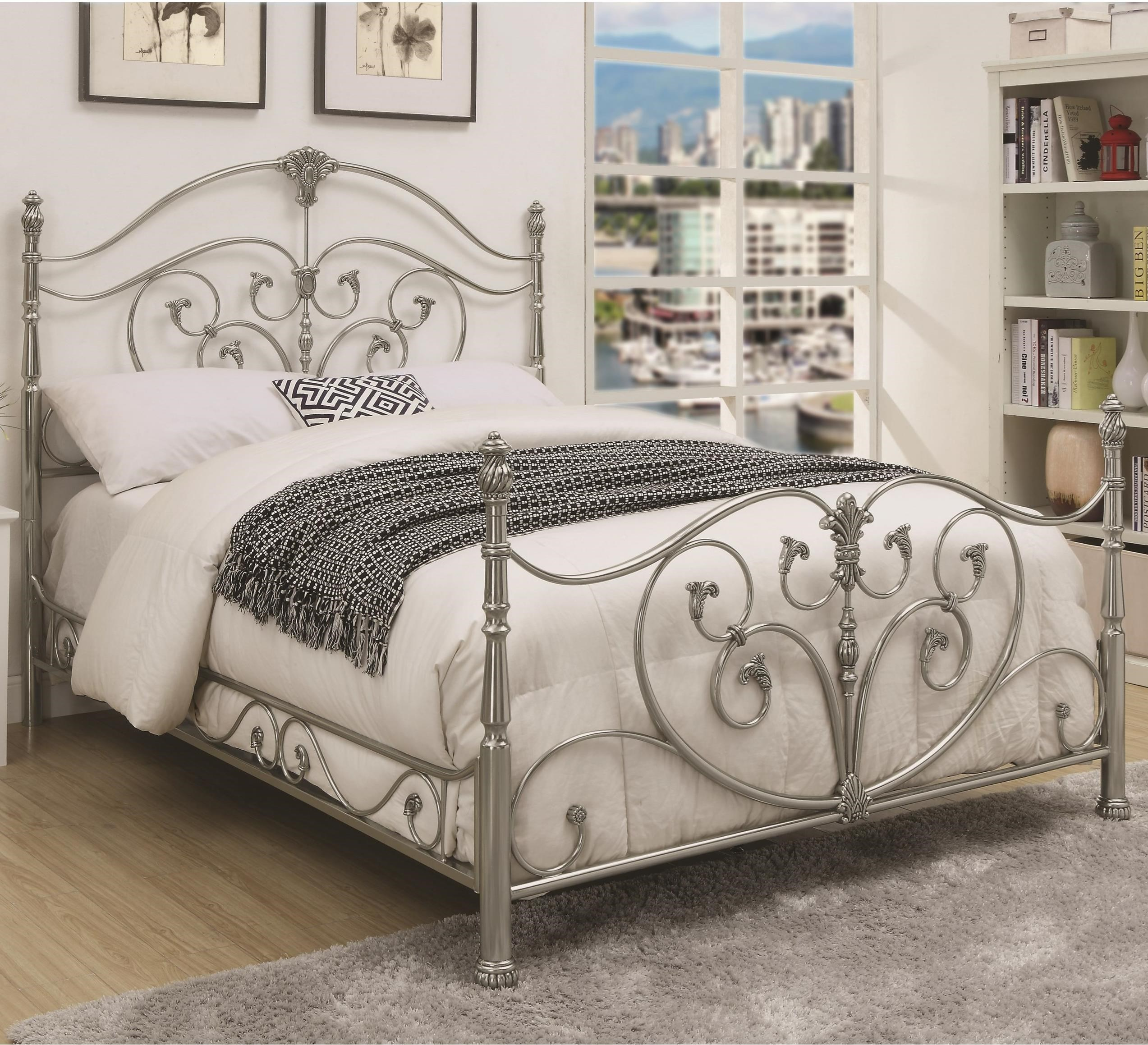 Coaster Evita Queen Metal Bed With Elegant Scrollwork Rife S