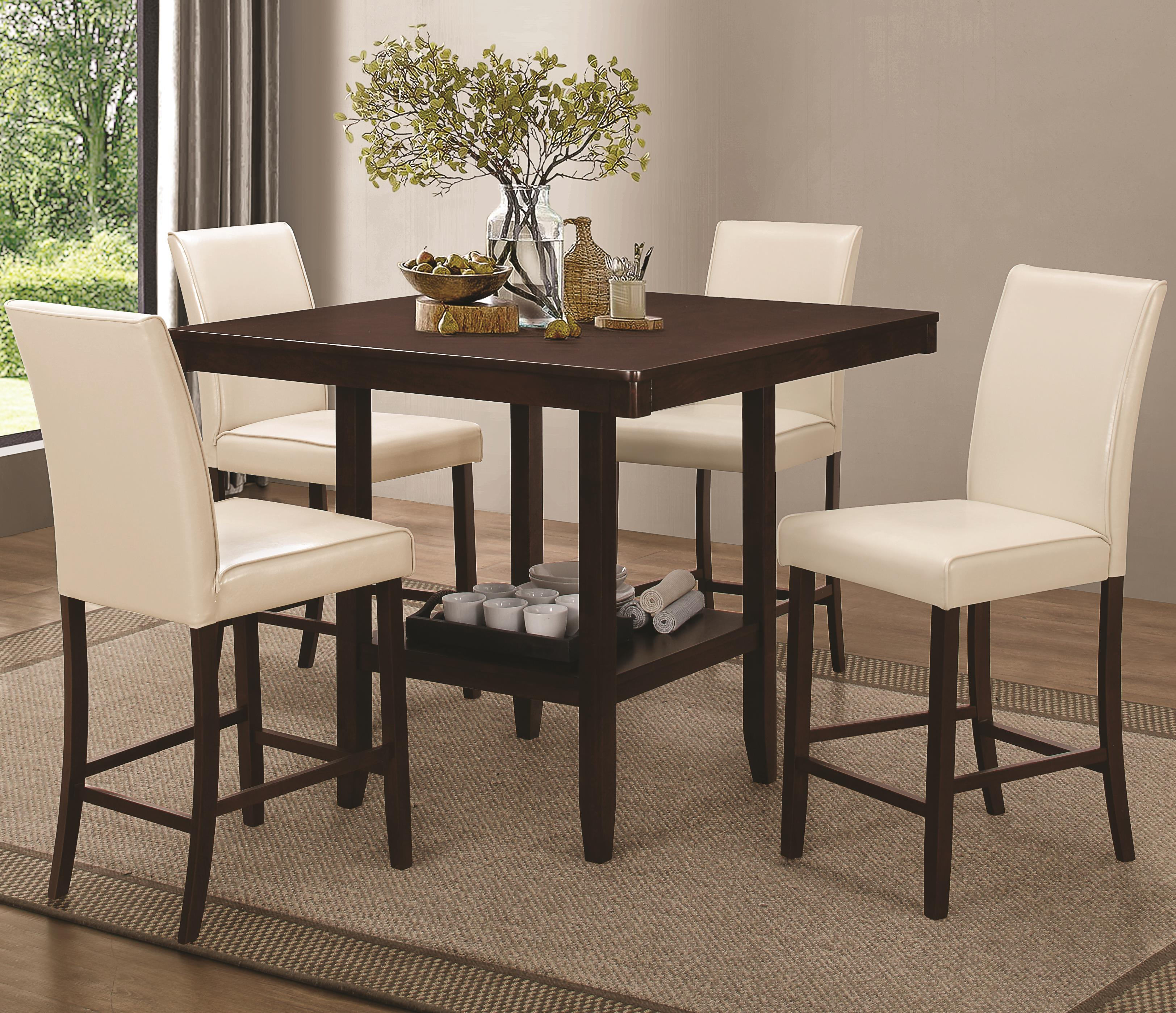 Coaster Fattori Counter Height Table Set - Item Number: 105308+4x105309