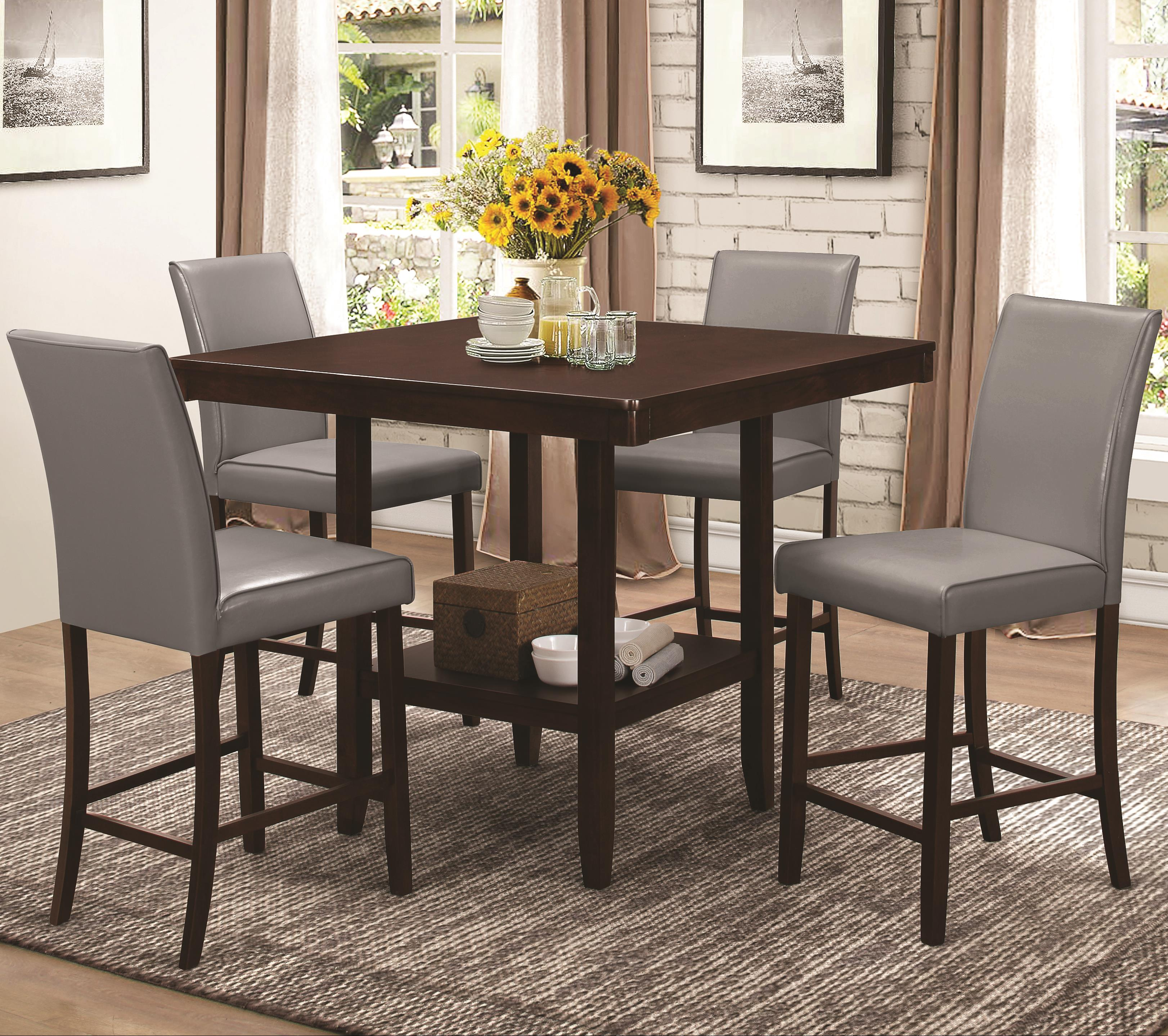 Coaster Fattori Counter Height Table Set - Item Number: 105308+4x105319