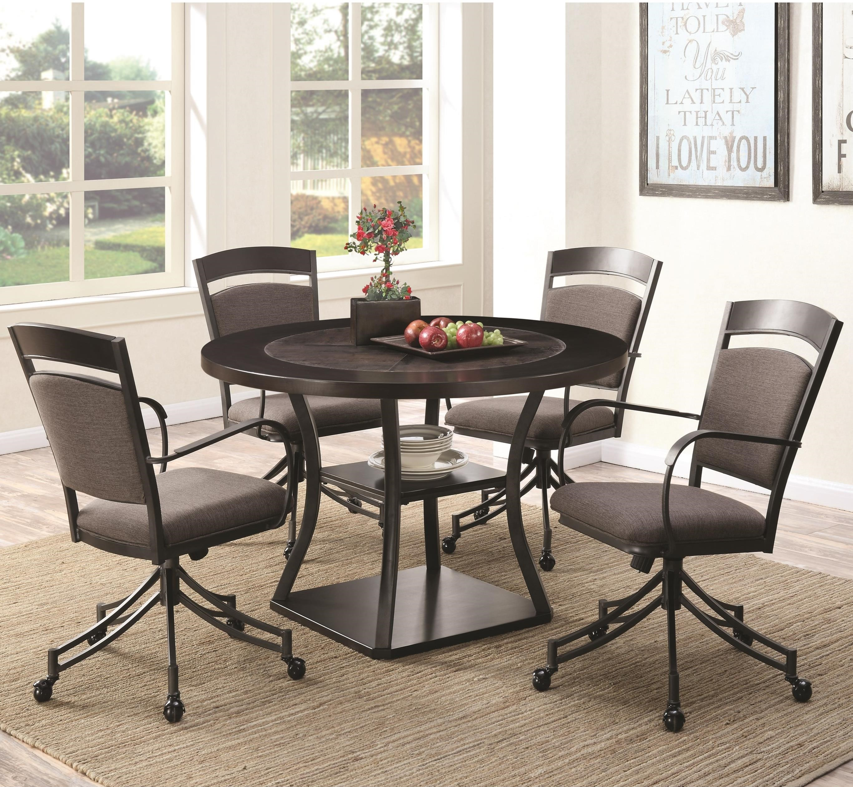 Coaster Ferdinand 5 Piece Round Table & Chair Set - Item Number: 105640+4x105642